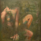 Homo sitting 15 oil/canvas 75 x 75 cm